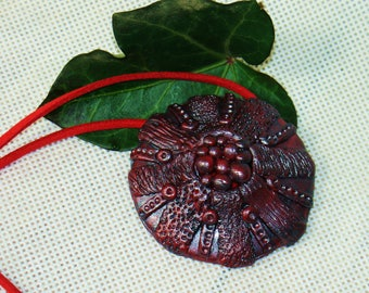 From the depths Pendant of modelin/clay, shine, claret, burgundy, dark red, daily ornament,  Christmas gift, for her, for mom, for daughter