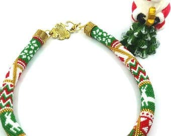 winter necklace of beads,gift. new year. Christmas
