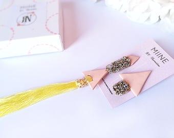 Tassel earrings, yellow earrings, tassel jewelry, handmade earrings, gift for her, long earrings, beauty gift, fringe earrings, womens gift