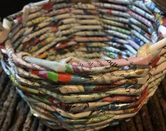 NEWSPAPER BASKET with paper butterfly