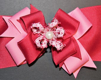 Pink Stacked Hair Bow