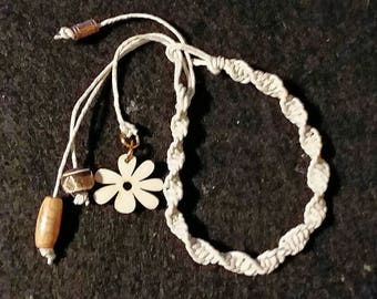 Natural Hemp Macrame Bracelet with Wood Flower Charm