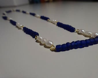 Dark Blue and Freshwater Pearl Necklace