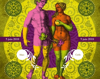 ADAM EVE GREEN, Digital art, Digital Art, icon, print, Illustration, frame to offer, frame, wedding, gift, family, Souvenir