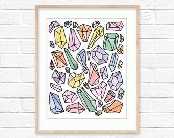Colorful gems downloadable wall art
