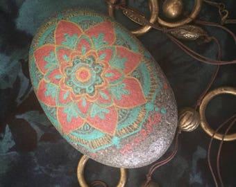 Painted stone,mándala stone,namaste sea stone