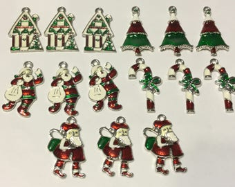 15 Piece Christmas Charms Red and Green Collection, Enamel