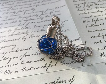Glass Fishing Float Necklace- Blue