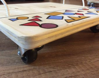 kneeboard, skateboard, wood toy, wooden toy, geometric forms, scooter
