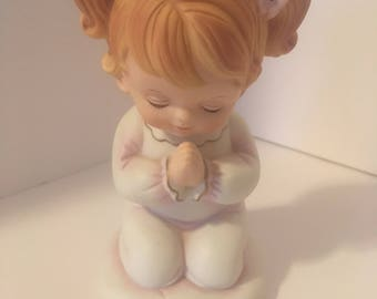 Vintage porcelain hand painted praying little girl