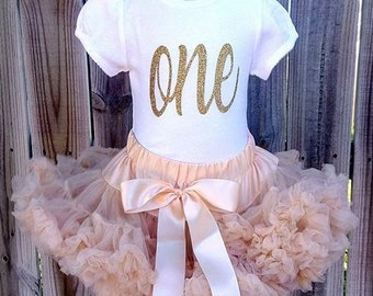 Gold and Rustic Peach Custom First Second Third Fourth Fifth Birthday Pettiskirt Outfit Free Personalization