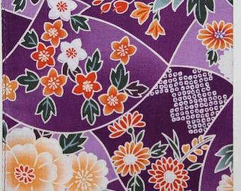 Japanese Cotton Fabric 50cm / Handkerchief - Purple & Orange Floral
