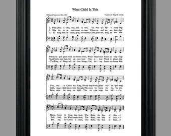 What Child Is This Christmas Song Lyrics - Christmas Sheet - Sheet Music- Home Decor - Inspirational Art - Gift - Instant Download #HYMN-030
