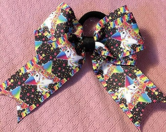 Hair Bow, Hair Tie, Fancy Bow, Girls Hair Bows, Boutique bows, Easter Bow, Black Bow, Girls hair bow, Unicorn Bow, Pinwheel Bow, 4 1/2""