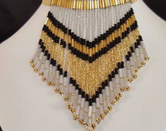 Western Native  Fringed Beaded Choker Necklace
