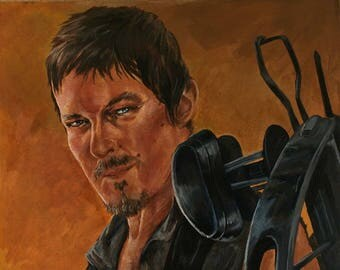 "Daryl Dixon 16""x20"" acrylic painting"