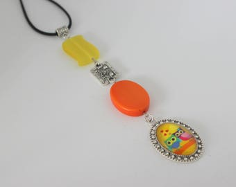 Original vertical necklace in yellow and orange, silver acrylic and OWL love cabochon.