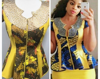 African Print Stone Embedded Blouse Can come with a Skirt on request. Get the social media raving over your selfie or party picture.