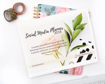 Social Media Planner- hashtags and content for business, 2018, Instagram, Twitter, Facebook, filofax, bullet journal- uk & us