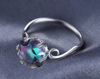 JewelryPalace Rainbow Topaz Ring Solid 925 Sterling Silver Women Fine Gift Jewelry