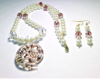 White Glass Pearl, Purple AB and Clear Crystal, Necklace with Lampwork Glass Pendent & Dangle Earring Set