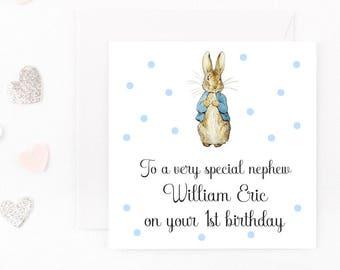 Handmade Personalised Birthday Card, Peter Rabbit Birthday Card, Baby Boy Birthday Card Beatrix Potter Card Son Nephew Any Age Name Wording