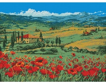 Cross Stitch Pattern Poppies flowers counted embroidery