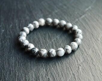 All Natural Zebra Net Stone | Stretch Cord Bracelet