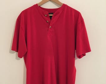 vintage red henley short sleeved tshirt, men's sz m