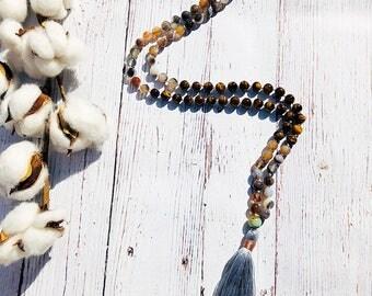 Tigers Eye Mala • Agate Mala • Mala Necklace • 108 Mala • Knotted Mala • Meditation Mala • Tassel Necklace • Prayer Beads • Yoga Jewelry