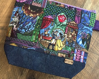 Beauty and the Beast Project bag for yarn knitting crochet notions embroidery needles cross stitch art supplies make up overnight bag