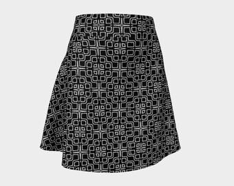 Geometric Black and White Pattern Skirt