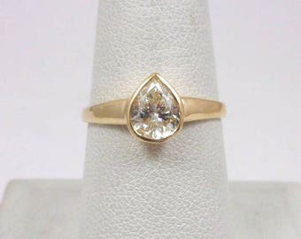 Solid 14K Yellow Gold 0.81 CT Bezel Set Diamond Solitaire Engagement Ring Size 8