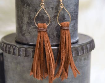 Long Brown Leather Tassel Earrings - Cognac Suede Dangle Earrings - Boho Earrings