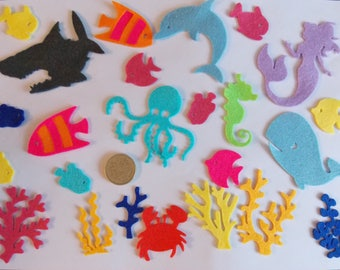 Ocean Sealife Felt Die Cut Embellishments/Toppers - Whale/Shark/Mermaid/Fish/Coral/Crab - sewing/craft/card making