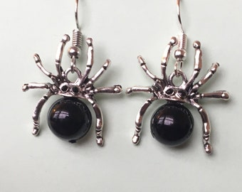 Silver and Black Spider Earrings