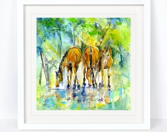 Forest Ponies - Horse Print, Equine Print. Printed from an Original Sheila Gill Watercolour. Fine Art, Giclee Print, Hand Painted,Home Decor
