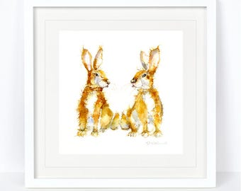 Cabbage and Patch - Rabbit, Bunny Print. Printed from an Original Sheila Gill Watercolour. Fine Art, Giclee Print, Hand Painted, Home Decor