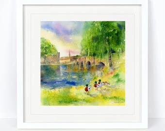 Bakewell Bridge - Derbyshire Scene Print. Printed from an Original Sheila Gill Watercolour. Fine Art, Giclee Print, Hand Painted, Home Decor