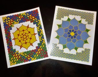 Celtic Knotwork and Flowers Note Cards