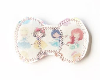 Princess Embroidery Bow Snap Clip - Faux Leather - Snap Clips - 50mm Clips - 2.5 inches - Embroidery Bow - Hair Bows