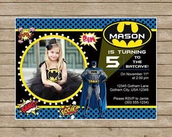 Batman Birthday Invitation,Batman Birthday,Batman Invitation,Batman Birthday invites,Batman Invitation with picture