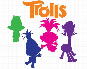 Trolls silhouettes svg, Trolls silhouette clipart EPS png jpg files. Disney svg dxf for Silhouette Cameo or Cricut