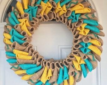 Spring Wreath, Burlap Wreath, Spring Colors