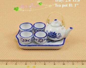 1:6 Scale Porcelain Chinese Style Tea Set Teapot Bamboo Handle Dollhouse Miniature