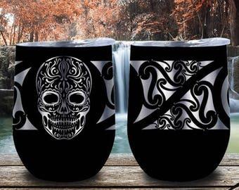 Skull Stainless steel Double insulated 12oz Wine Tumbler,Sugar Skull