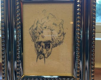 Professor - Framed Pen and Ink Print Drawing on Canvas