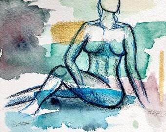 "ORIGINAL | ""Seaside"" | Watercolor And Mixed Media Painting"