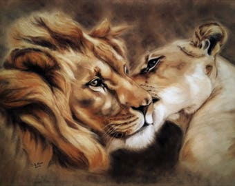 Lion and Lioness Print - Lion Artwork - Lion Wall Art - Lion Print - Lion Picture - Romantic Gift - Animal lovers Gift - Lion Lovers Gift