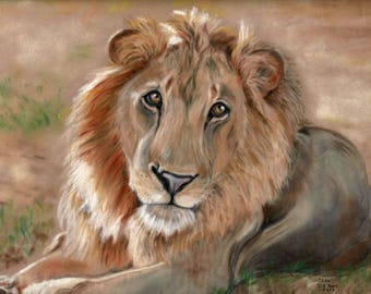 Lion Print - Big Cat Print - Lion Wall Art - Lion Artwork - Lion Picture - Lion Gift - Lion Painting - Safari Wall Art - Animal Picture